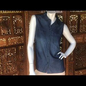 NWT Denim button down tank top by The Limited M